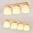 3/4 Lights Rectangle Island Light Contemporary Opal Glass Island Lamp in White for Restaurant