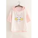 Girls Cute Cartoon Rabbit Printed Color Block Short Sleeve Hooded T-Shirt