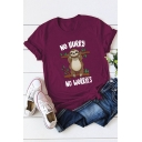 NO HURRY NO WORRIES Cartoon Sloth Pattern Cotton Loose Graphic Tee