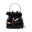 Chic Solid Color Bow Tied Top Handle Sequin Bucket Bag for Girls 17*11*17 CM