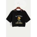 Summer Hot Popular Letter Sunflower Pattern V-Neck Short Sleeve Cropped Black Tee