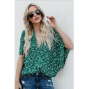 Womens Summer Stylish Green Pattern V-Neck Batwing Sleeve Loose Casual Blouse Top