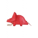 Designer Creative Cartoon Triceratops Shape Rivet Embellishment Chain Strap Crossbody Bag 31*14*9.5 CM