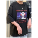 Summer Hip Hop Style Fashion Comic Character Pattern Round Neck Oversized T-Shirt
