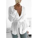 Designer Unique Simple Plain V-Neck Long Sleeve Belted Waist Button Down White Blouse Top