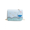 Lovely Seagull Wave Ship Pattern Sequin Embellishment Square Crossbody Bag with Chain Strap 19*16*9 CM