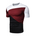 Mens Stylish Color Block Round Neck Short Sleeve Slim Fitted T-Shirt