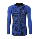 Stylish Geometric Printed Crewneck Long Sleeve Outdoor Training Fitness Tight T-Shirt