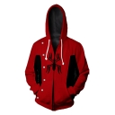 New Stylish Long Sleeve Zip Front Spider Printed Red Hoodie