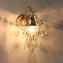 Gold Finish Bell Sconce 1 Head Luxurious Style Metal Wall Light with Clear Crystal for Bedroom