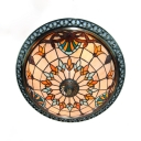 Tiffany Victorian Beige Ceiling Mount Light Bowl Shade 4 Lights Stained Glass Ceiling Fixture for Dining Room