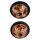 Vintage Butterfly/Flower Flush Ceiling Light 4 Lights Stained Glass Ceiling Lamp for Living Room