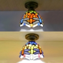 Stained Glass Dragonfly Ceiling Fixture One Bulb Tiffany Rustic Flush Mount Light in Blue/Orange for Kitchen