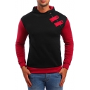 Mens Unique Oblique Zipper Embellished Color Block Long Sleeve Slim Fitted Hoodie
