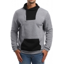 Mens Simple Color Block Half-Zip Front Long Sleeve Casual Loose Pullover Hoodie