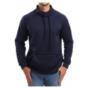 Mens Stylish Drawstring Funnel High Neck Long Sleeve Plain Slim Fit Sport Pullover Sweatshirt