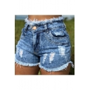 Hot Popular Stylish Washed Distressed Ripped Frayed Hem Slim Denim Shorts