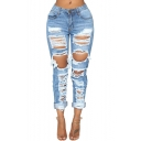 Stylish High Waist Distressed Ripped Rolled Cuff Straight Fit Blue Jeans