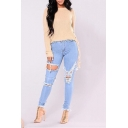 Light Blue Destroyed Ripped Stretch Fit Skinny Denim Jeans for Women