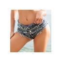 Summer Girls Hot Popular Distressed Frayed Hem Sexy Beach Hot Pants Denim Shorts