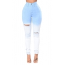 Unique Fashion High Rise Ripped Ombre Color Blue and White Skinny Fit Jeans