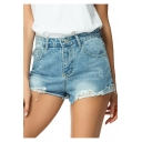 Womens Trendy Light Blue Distressed Ripped Casual Summer Denim Shorts