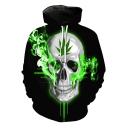 Unique Cool Green Smog Leaf Skull 3D Pattern Long Sleeve Casual Loose Black Hoodie
