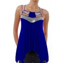 Summer Sexy Strappy Sleeveless Chic Sequined Patched Asymmetrical Pleated Cami Top