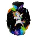 Funny Cartoon Pride Unicorn 3D Splash-Ink Printed Long Sleeve Black Hoodie