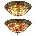 Stained Glass Bowl Flush Mount Light Living Room Tiffany Style Sunflower/Victorian Ceiling Light