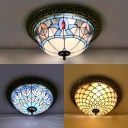 Glass Beads/Magnolia/Peacock Ceiling Light Antique Tiffany Flush Mount Light for Dining Room