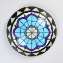 Child Bedroom Flower Flush Mount Light Stained Glass Tiffany Vintage Blue LED Ceiling Lamp