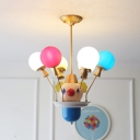 Creative Balloon Chandelier with Clown 6 Lights Glass Multi-Color Pendant Light for Boys Bedroom