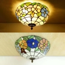 12/16 Inch Floral Ceiling Mount Light Tiffany Rustic Stained Glass Ceiling Lamp for Corridor