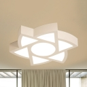 Contemporary Foot/Star/Y-Shaped Flush Light Acrylic Stepless Dimming Ceiling Lamp in White for Kindergarten