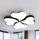 Acrylic Heart LED Flush Mount Light Study Room 3/4 Heads Cartoon Ceiling Lamp in Black/Blue/Pink/White