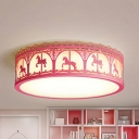 Merry-Go-Round Teen Flush Mount Light Metal Acrylic Modern Warm/White LED Ceiling Lamp in Blue/Pink/White