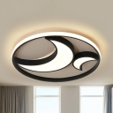 Black Crescent LED Ceiling Mount Light Simple Acrylic Stepless Dimming/Warm/White Flush Light for Study Room