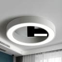 Metal Clock LED Flush Mount Light Living Room Modern Stepless Dimming/White Ceiling Fixture for Dining Room