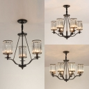 Country Style Candle Hanging Lamp 3/6/8 Heads Metal Chandelier with Clear Crystal for Restaurant