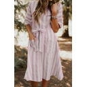 Womens Summer Trendy V-Neck Vertical Wide Striped Print Bow-Tied Waist Midi A-Line Dress with Pocket
