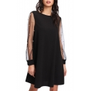 Womens Chic Beading Embellished Mesh Long Sleeve Round Neck Plain Mini Swing Dress