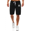 Summer New Fashion Letter KING 01 Print Drawstring Waist Athletic Shorts Sweat Shorts