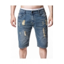 Men's Fashion Vintage Destroyed Ripped Detail Slim Fit Light Blue Denim Shorts