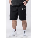 Popular Fashion Graphic Logo Printed Drawstring Waist Loose Fit Men's Black Athletic Shorts