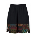 Summer New Fashion Unique Printed Elastic Waist Breathable Quick-drying Black Basketball Shorts