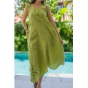 Summer New Fashion Cool Square Neck Sleeveless Drawstring Hem Maxi Casual Linen Tank Dress
