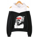 Hot Fashion Senpai Comic Girl Printed Cold Shoulder Long Sleeve Sport Loose Hoodie
