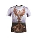Creative 3D Tree Eagle Printed Purple Short Sleeve T-Shirt