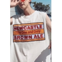 Summer Hip Hop Fashion Letter NEWCASTLE Printed Round Neck Oversized Tank for Guys